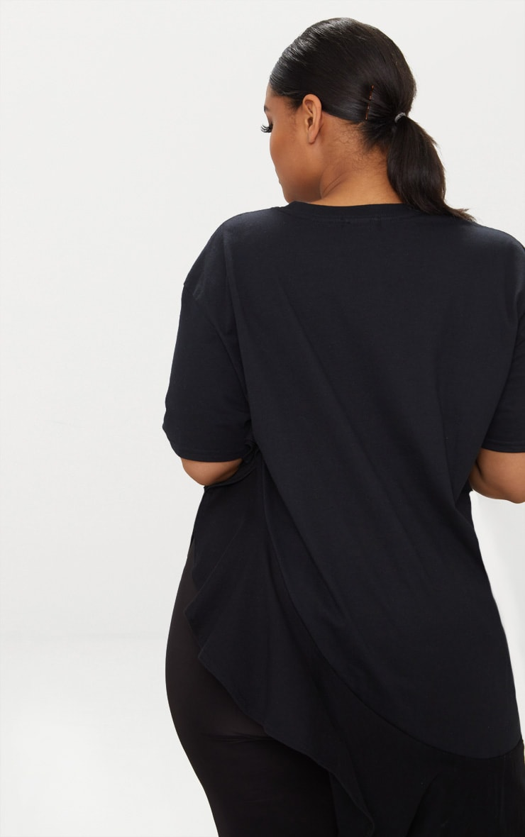 Plus Black Frill Detail Oversized T-Shirt 2