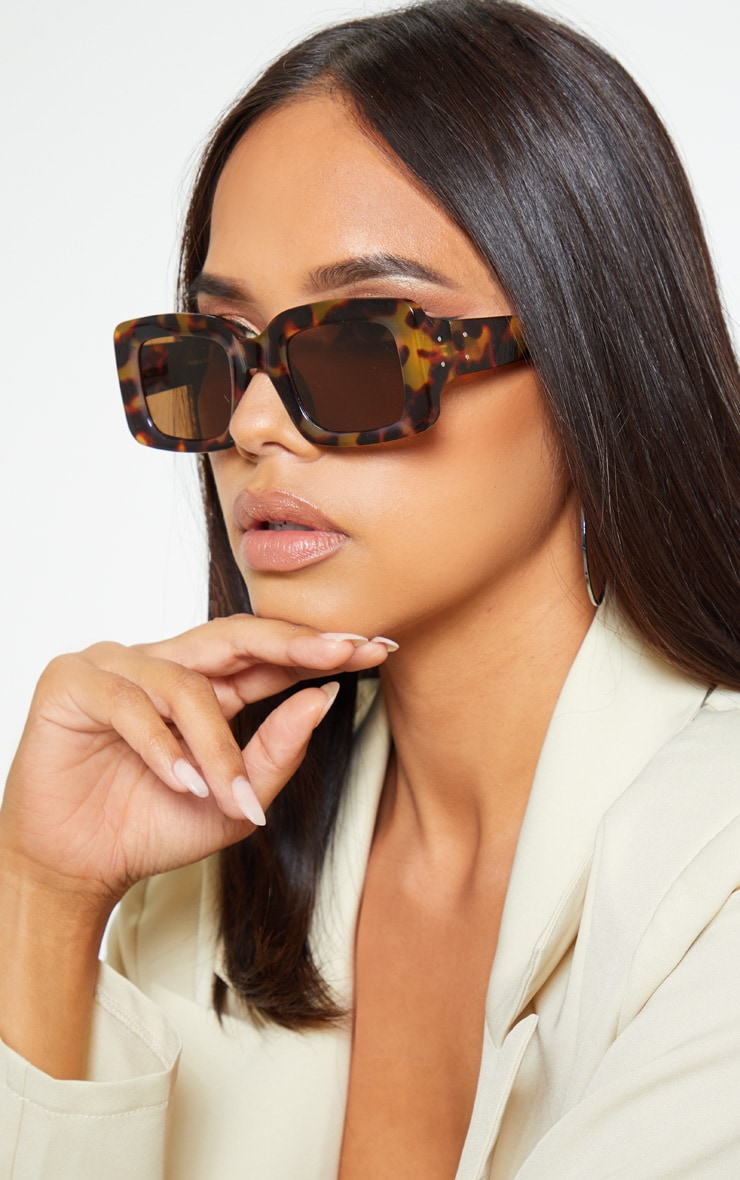 Tortoiseshell Rectangle Thick Frame Sunglasses 1