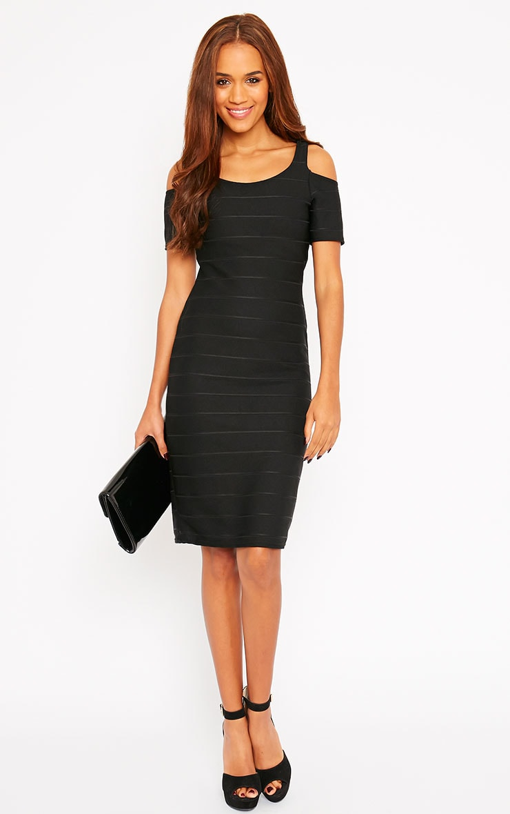 Bea Black Cold Shoulder Bandage Dress 3