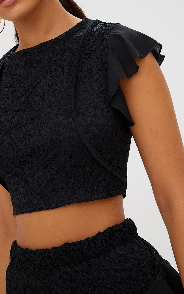 Black Lace Frill Sleeve Detail Crop Top 5