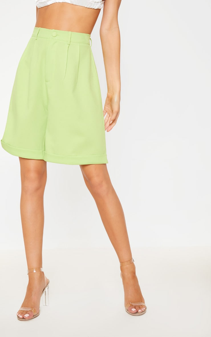 Lime Turn Up Hem Longline Short 2