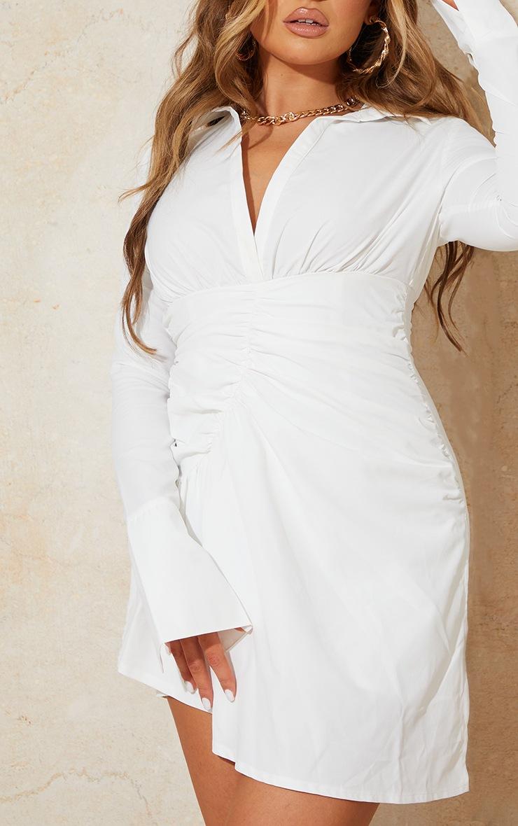 White Oversized Cuff Gathered Skirt Shirt Dress 4