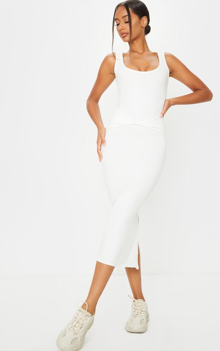 Cream Cotton Sleeveless Twist Waist Midi Dress 1