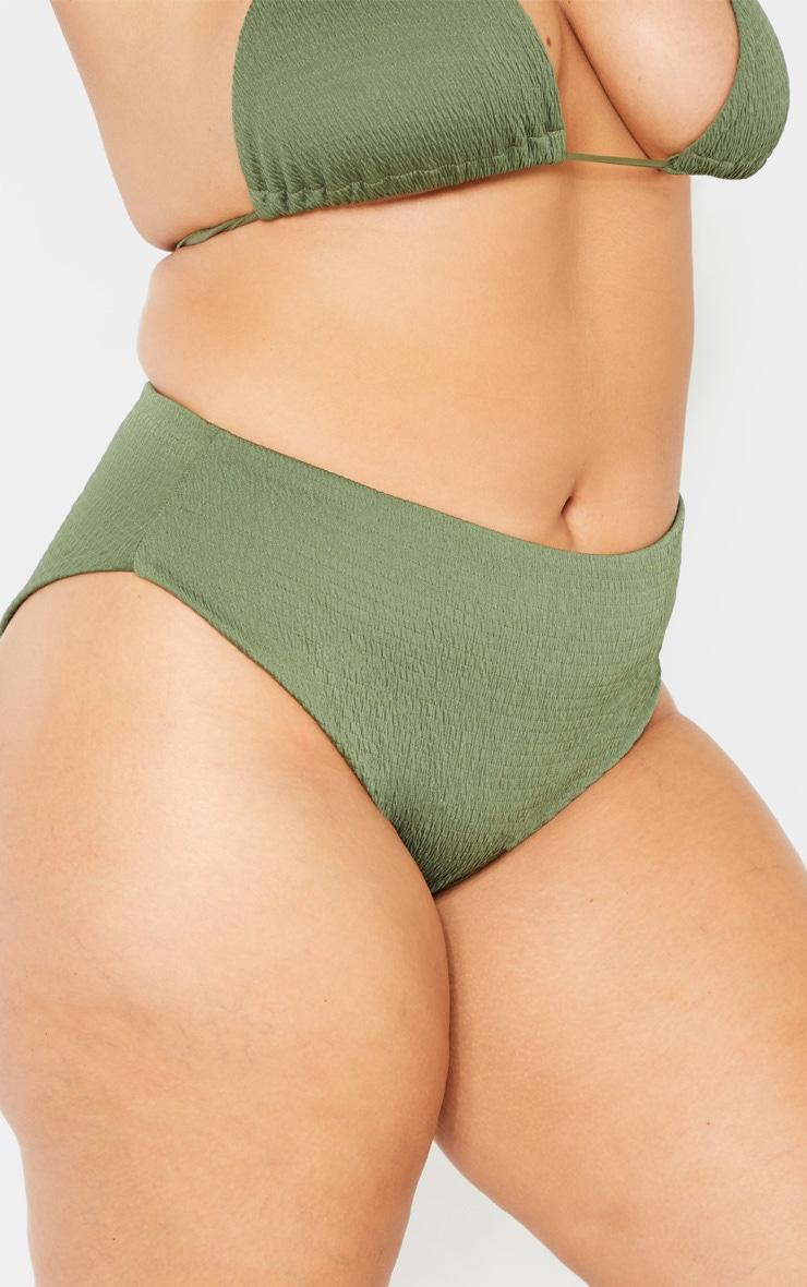Plus Khaki Crinkle Bikini Bottom  2