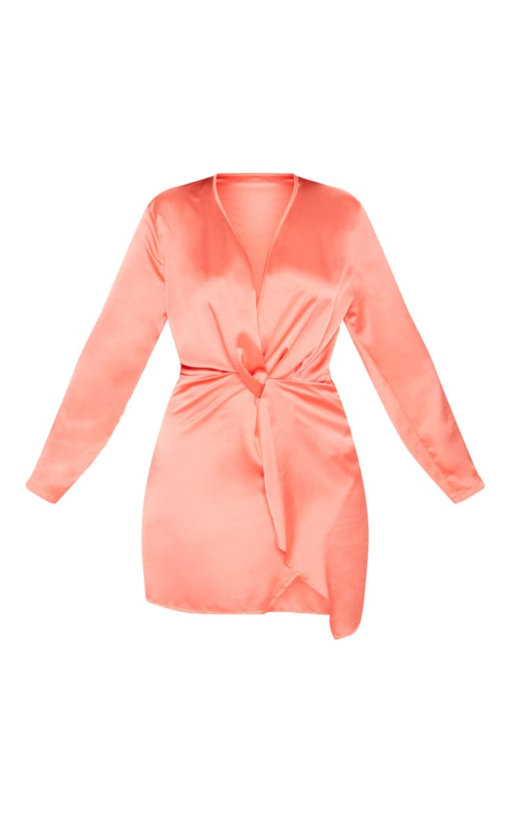 Plus Coral Satin Long Sleeve Wrap Dress 3