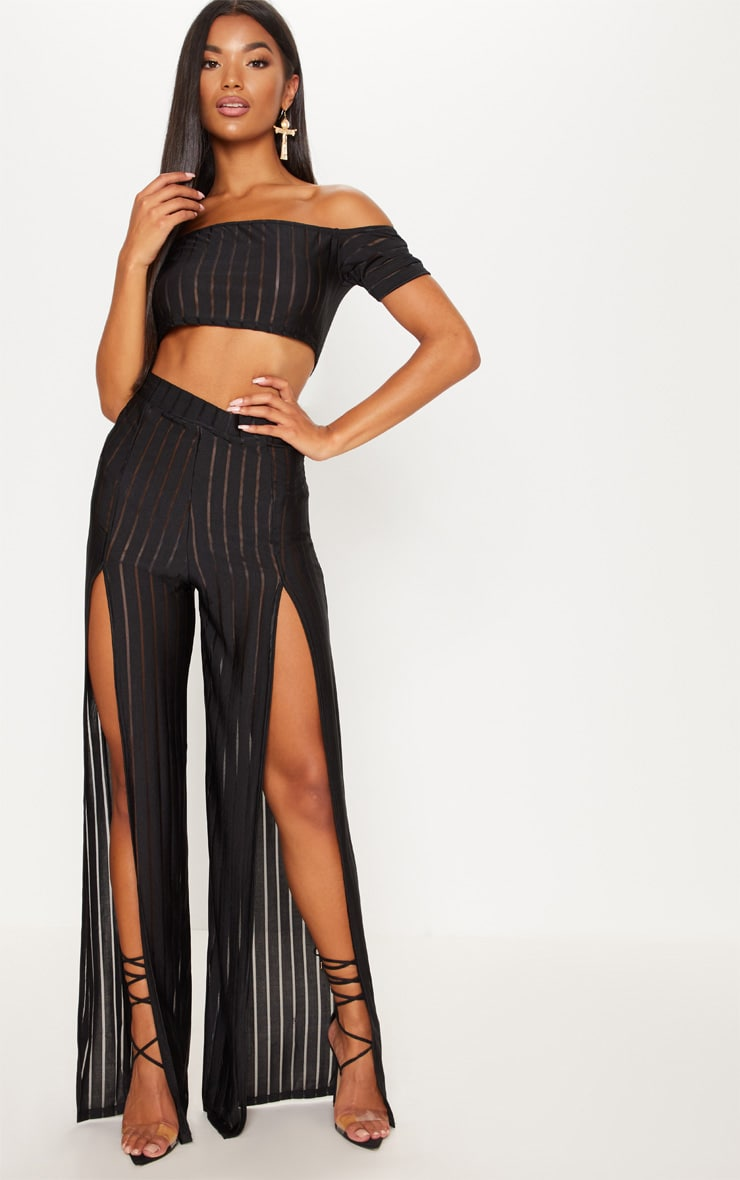 Black Mesh Stripe Bardot Crop Top 4