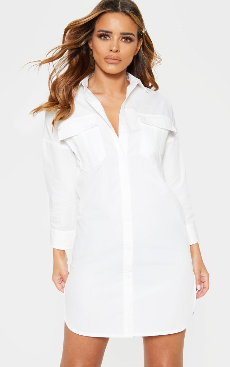 1060dc27d10 Petite White Pocket Detail Shirt Dress image 1