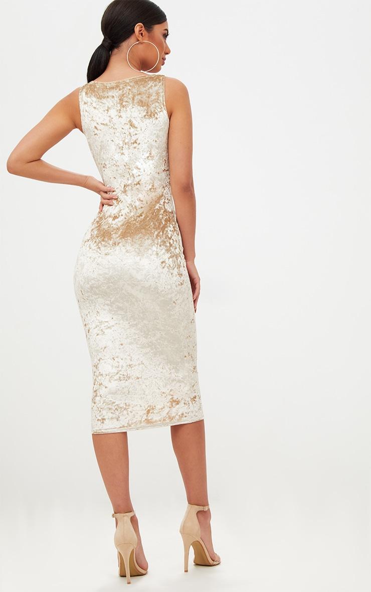 Champagne Square Neck Velvet Midaxi Dress 2