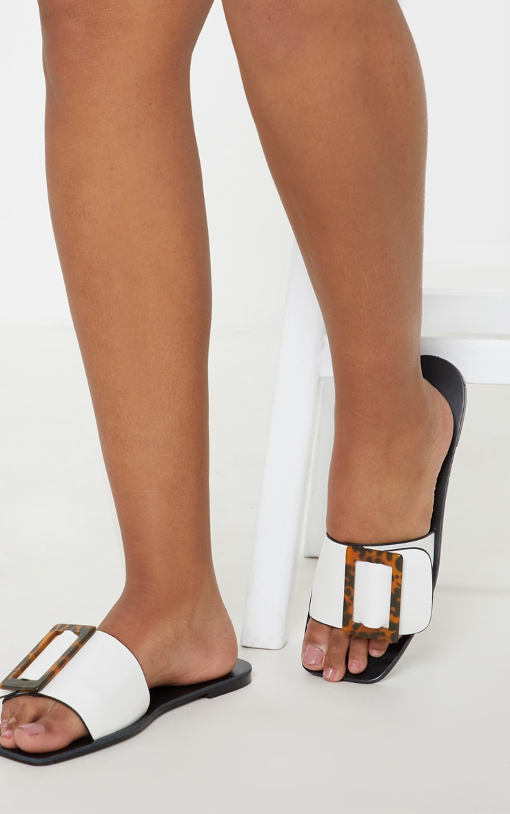 White Buckle Mule Sandal 4
