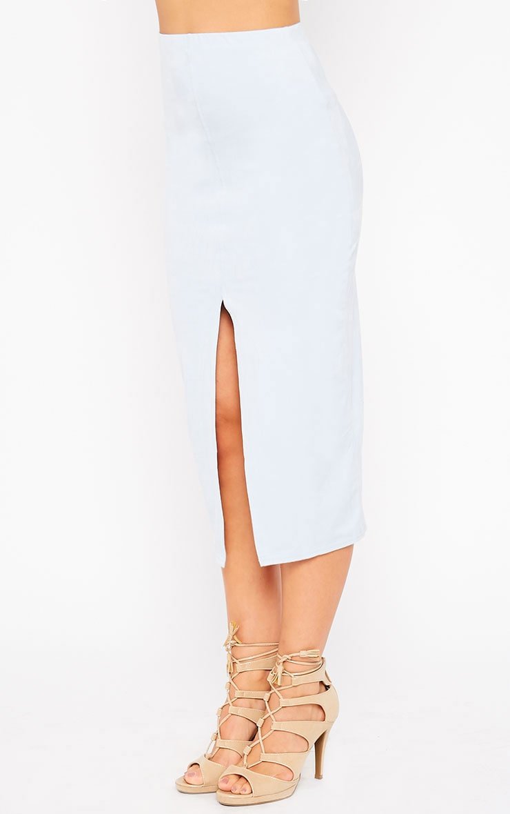 Riley Powder Blue Suede Midi Skirt 3