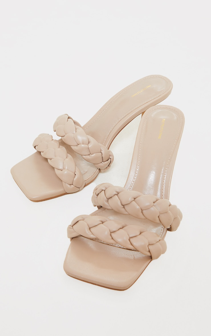 Nude Wide Fit PU Square Toe Double Plaited Low Heeled Mules 4