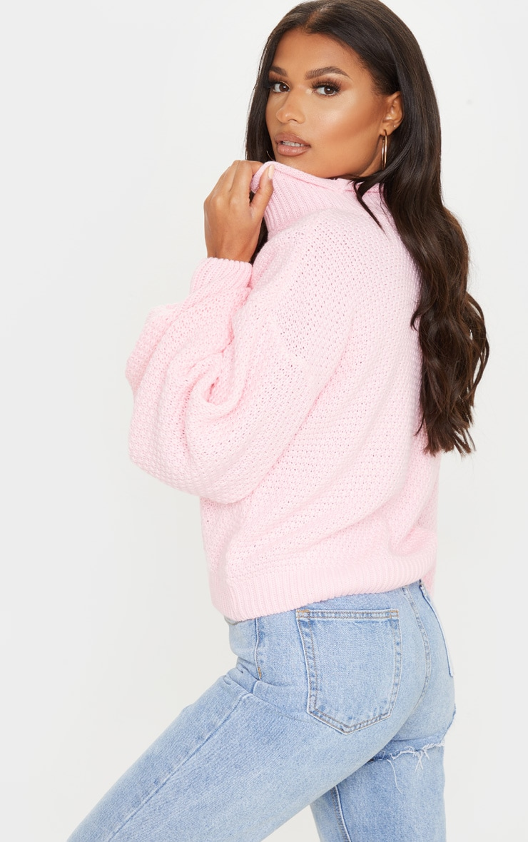 Baby Pink Textured Knit Roll Neck Sweater 2