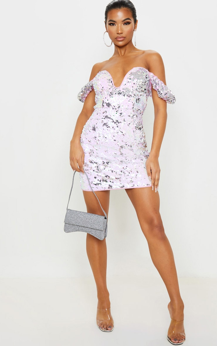 Lilac Sequin Short Sleeve Plunge Detail Bodycon Dress 1