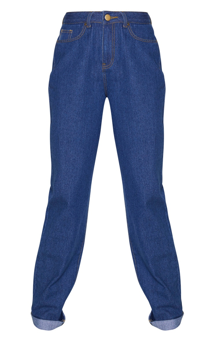 Tall Mid Blue Wash Basic Turn Up Mom Jeans 3