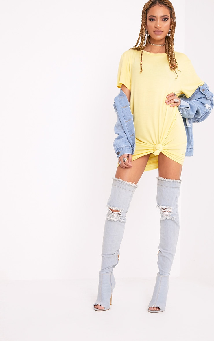 Basic Lemon Short Sleeve T Shirt Dress 4