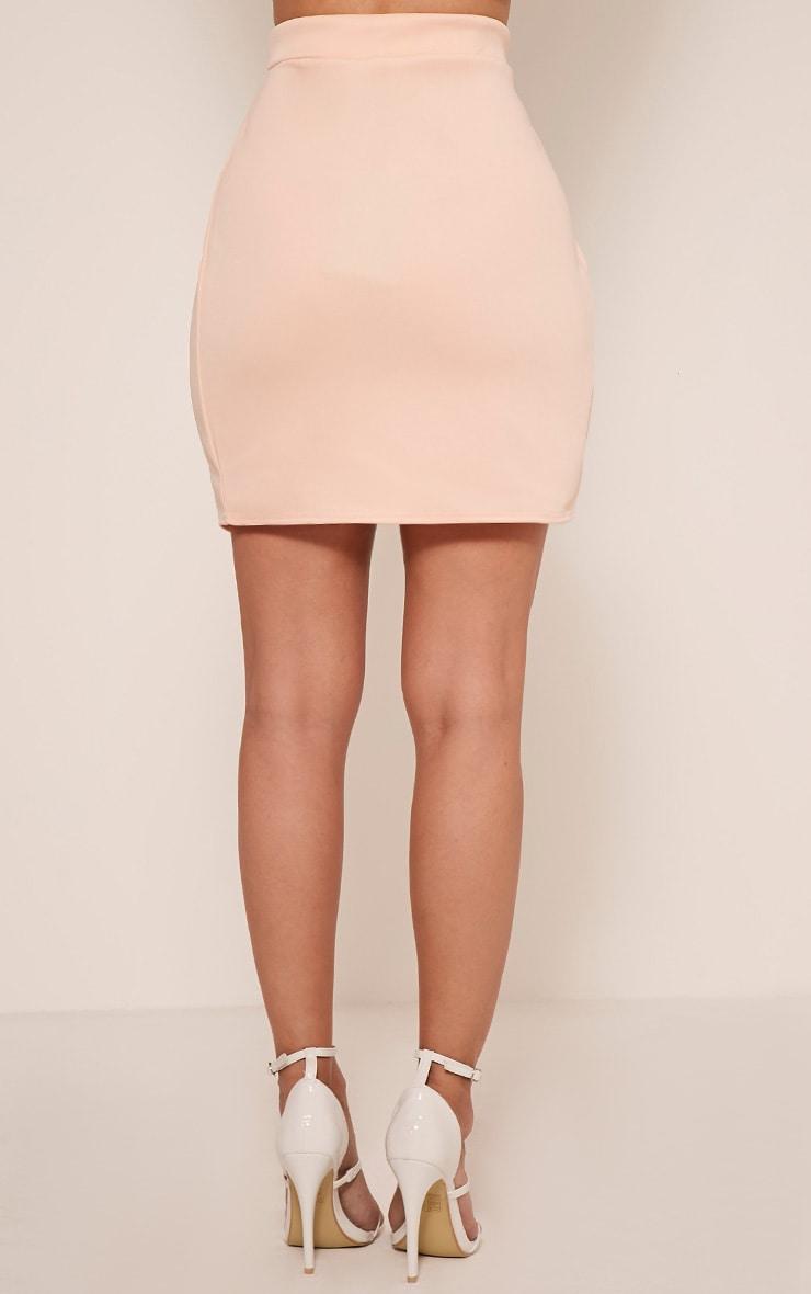 Marcella Nude Asymmetric Wrap Mini Skirt 5