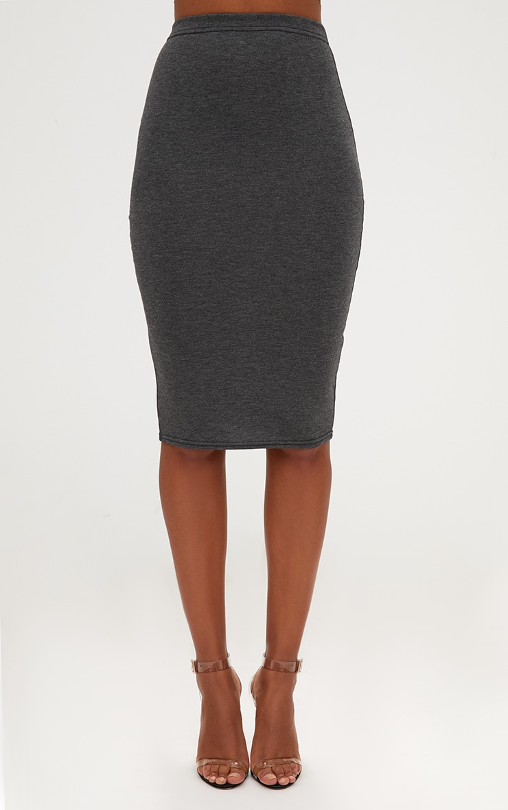 Plum/Charcoal 2 Pack Jersey Midi Skirt 2