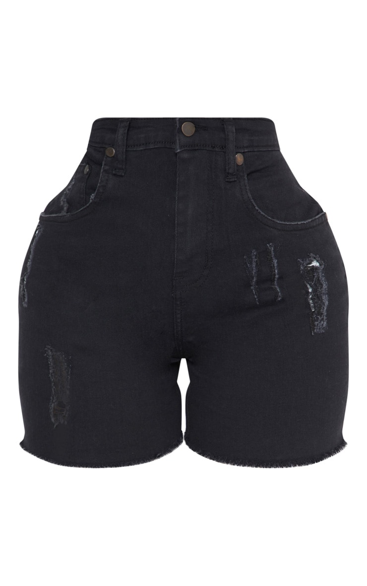 Shape Black High Waisted Denim Shorts 3
