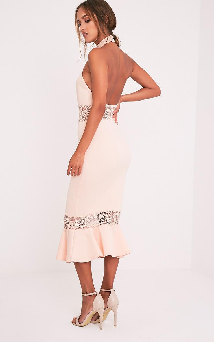 Emilee Nude Halterneck Lace Insert Fishtail Midaxi Dress 5