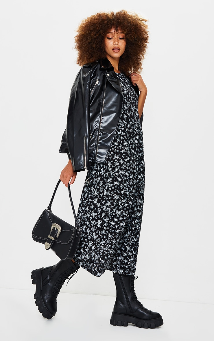 Black Ditsy Print Short Sleeve Midi Smock Dress 3
