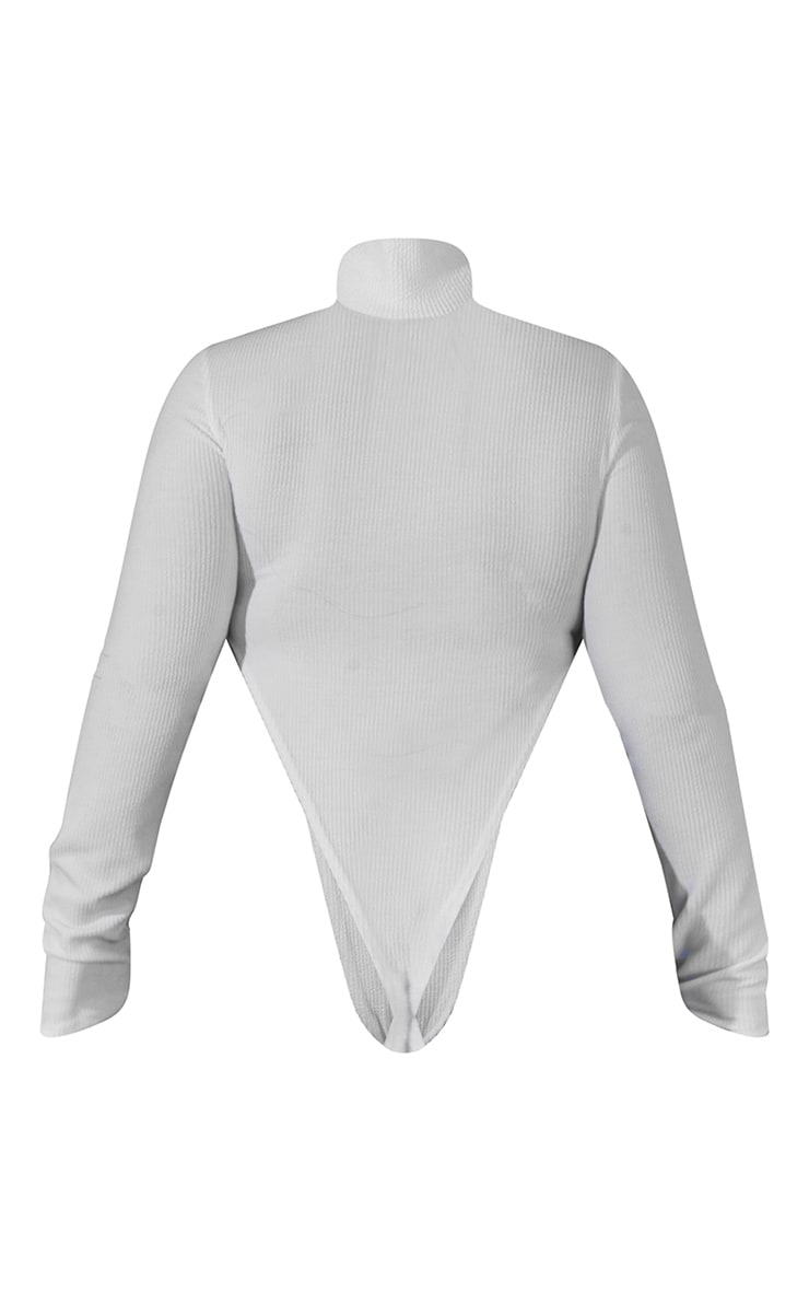 Plus Off White High Neck Cut Out Bodysuit 7