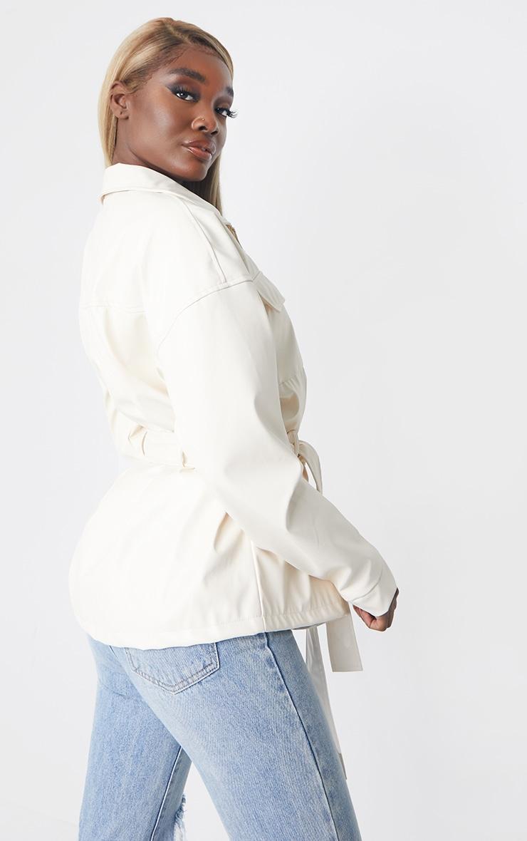 Tall Ecru Faux Leather Belt Detail Jacket 2