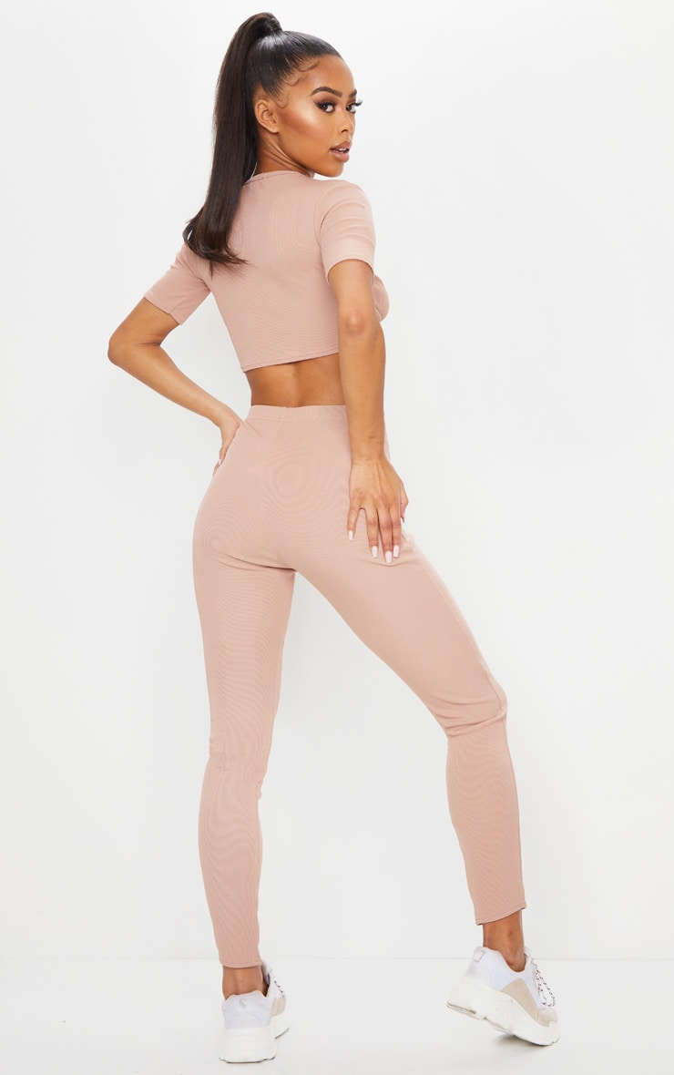 Stone Rib Twist Front Crop Top & Leggings Set 2