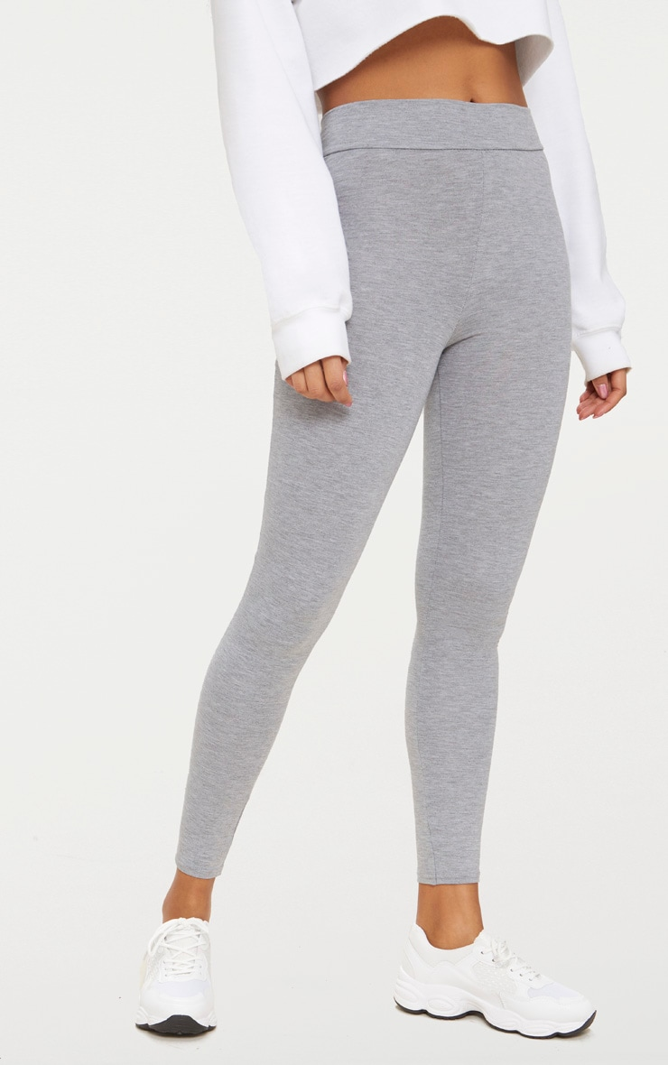 Dabria Grey High Waisted Jersey Leggings 2