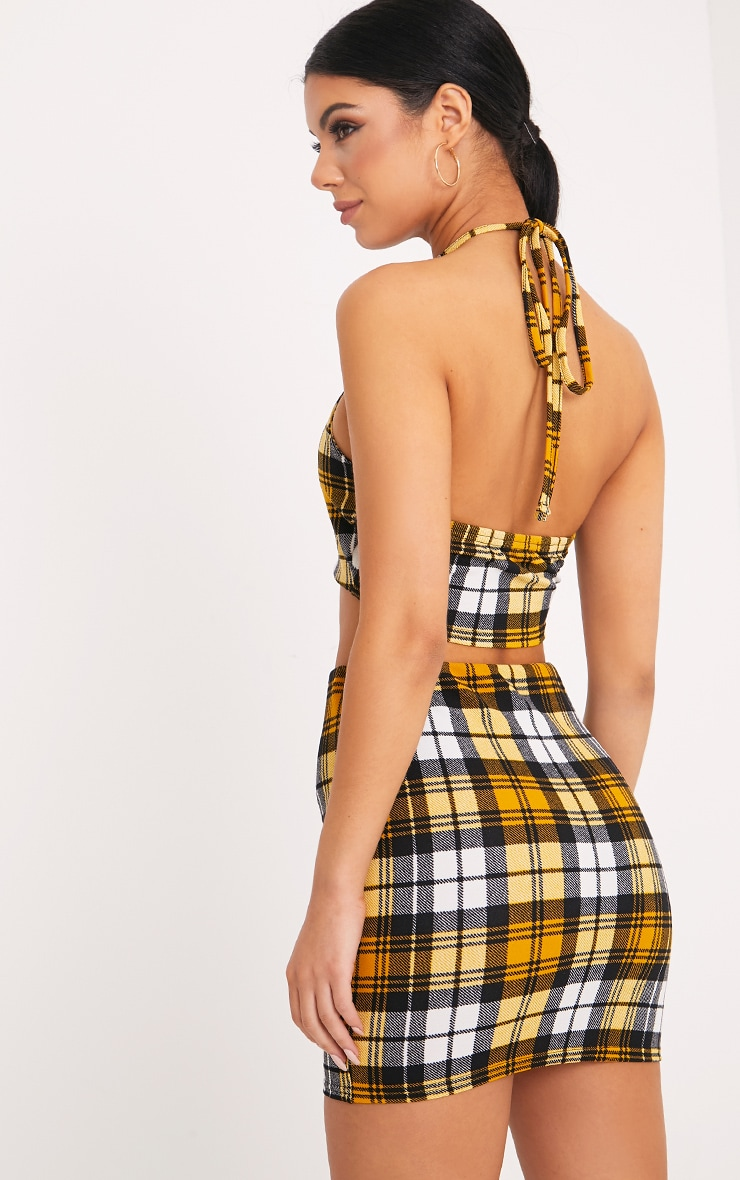 Rosa Yellow Check Print Halterneck Crop Top  2