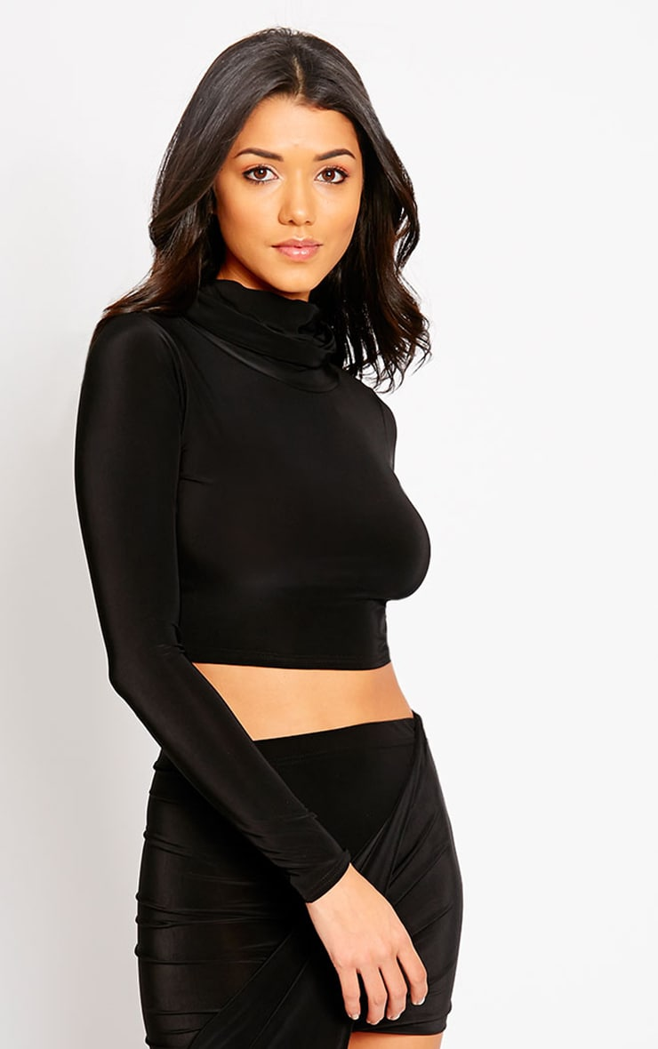 Alba Black Roll Neck Crop Top 4