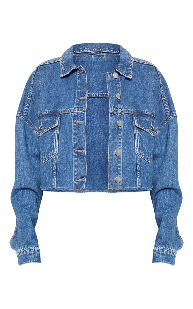 Mid Wash Raw Edge Denim Jacket 3