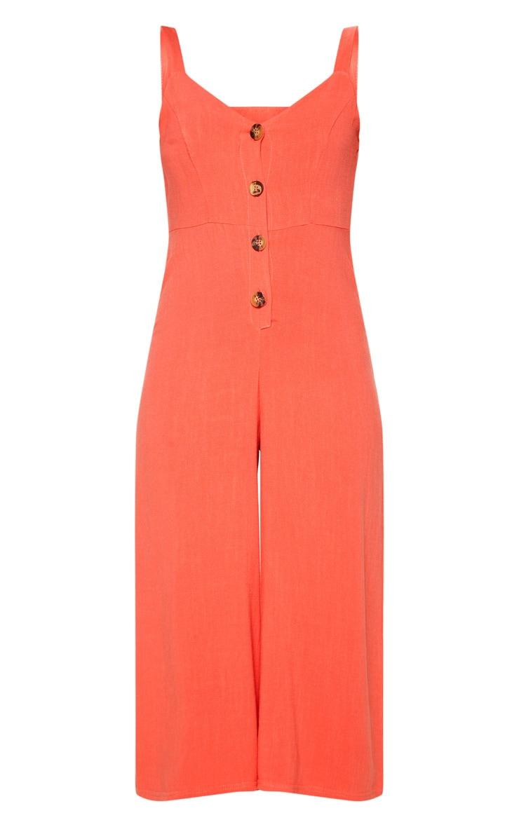 Coral Woven Button Front Culotte Jumpsuit 3