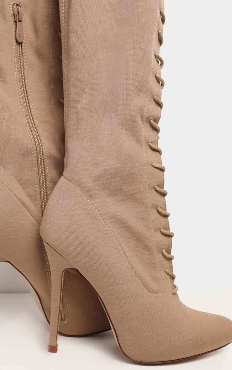 Nude Over The Knee Lace Up Boot 4