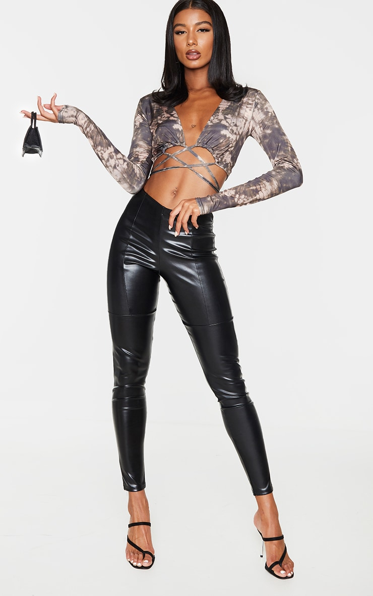 Black Soft Touch Tie Wrap Around Print Long Sleeve Crop Top 3