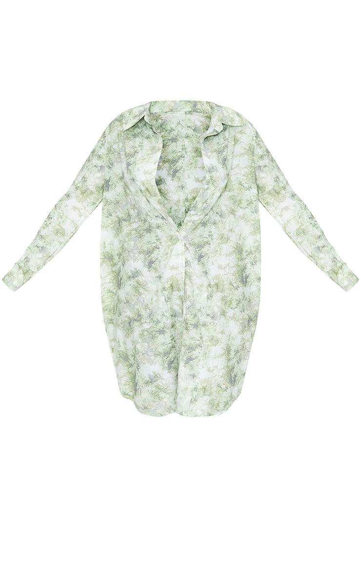 Green Acid Wash Oversized Beach Shirt 4