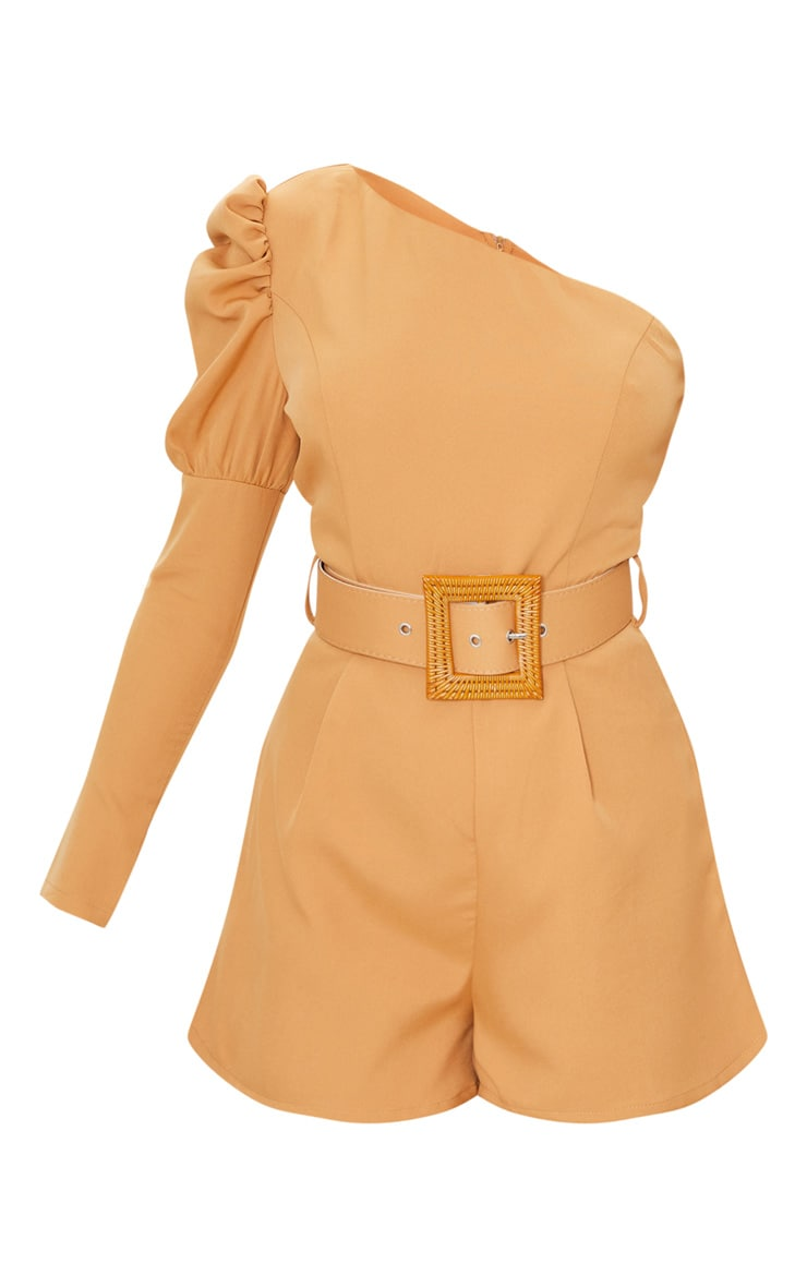 Camel Puff Sleeve One Shoulder Belted Playsuit 5