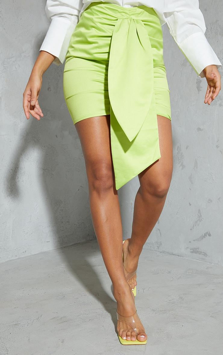 Lime Satin Drape Ruched Mini Skirt 2
