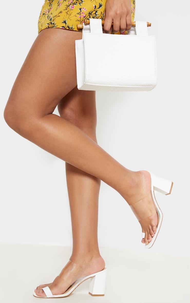 White Clear Block Heel Toe Loop Mule image 1