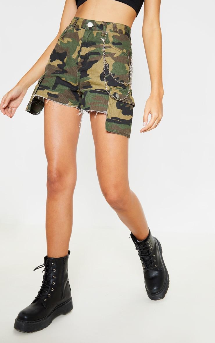 Camo Cargo Pocket Denim Shorts  2