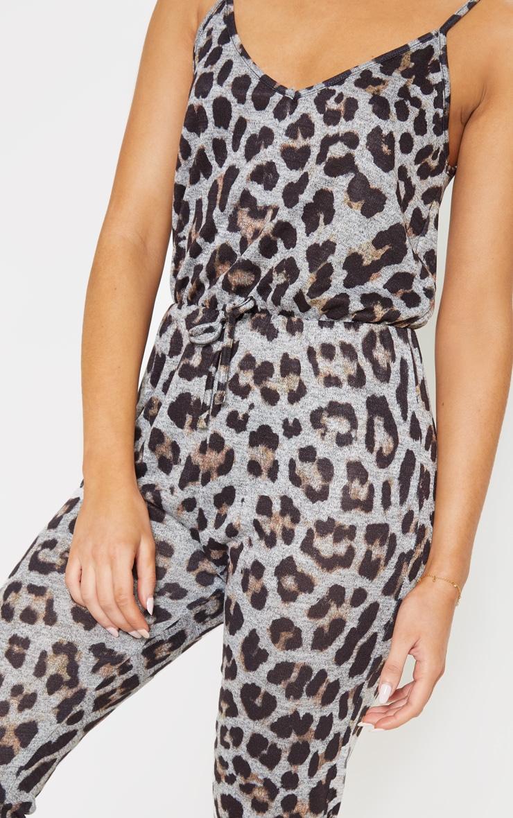 Leopard Tie Waist Lounge Jumpsuit 5