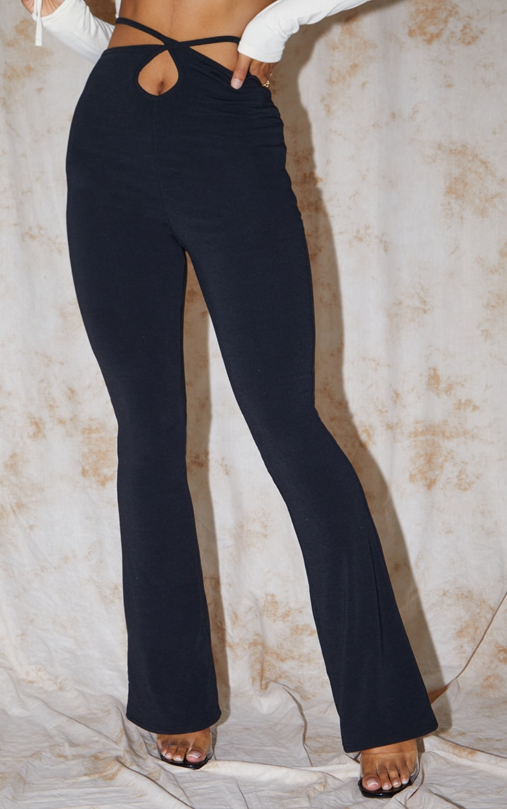 Recycled Black Contour Jersey Tie Waist Flared Pants 2