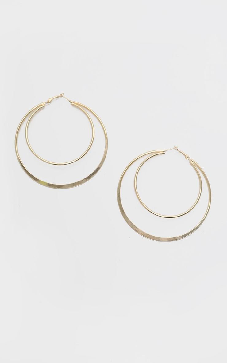 Gold Oversized Double Hoop Earrings 3