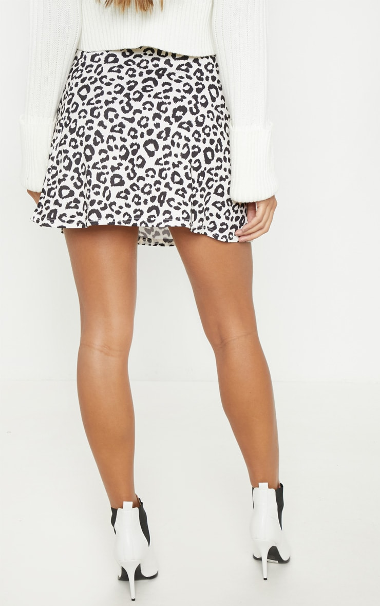 Leopard Print Printed Button Front A Line Skirt 4