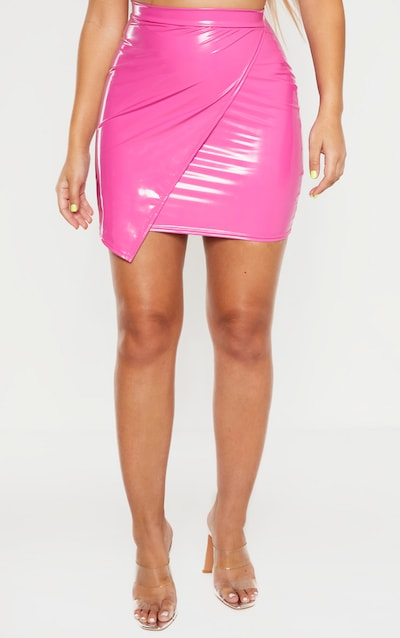 Hot Pink Vinyl Wrap Mini Skirt