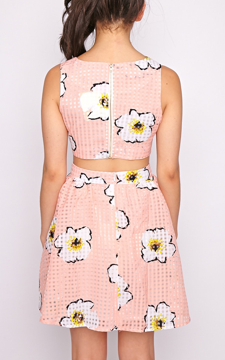 Kyra Pink Check Floral Cut Out Skater Dress 2