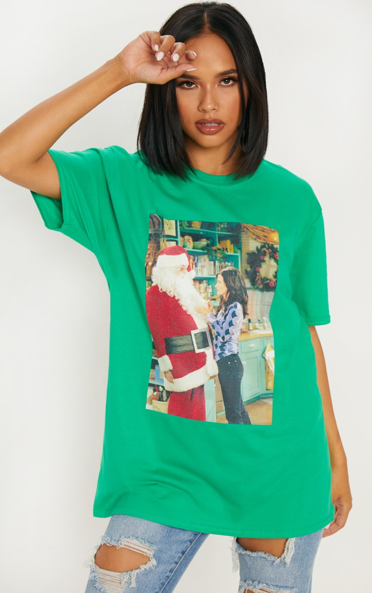 Green Friends Santa Printed T shirt 1