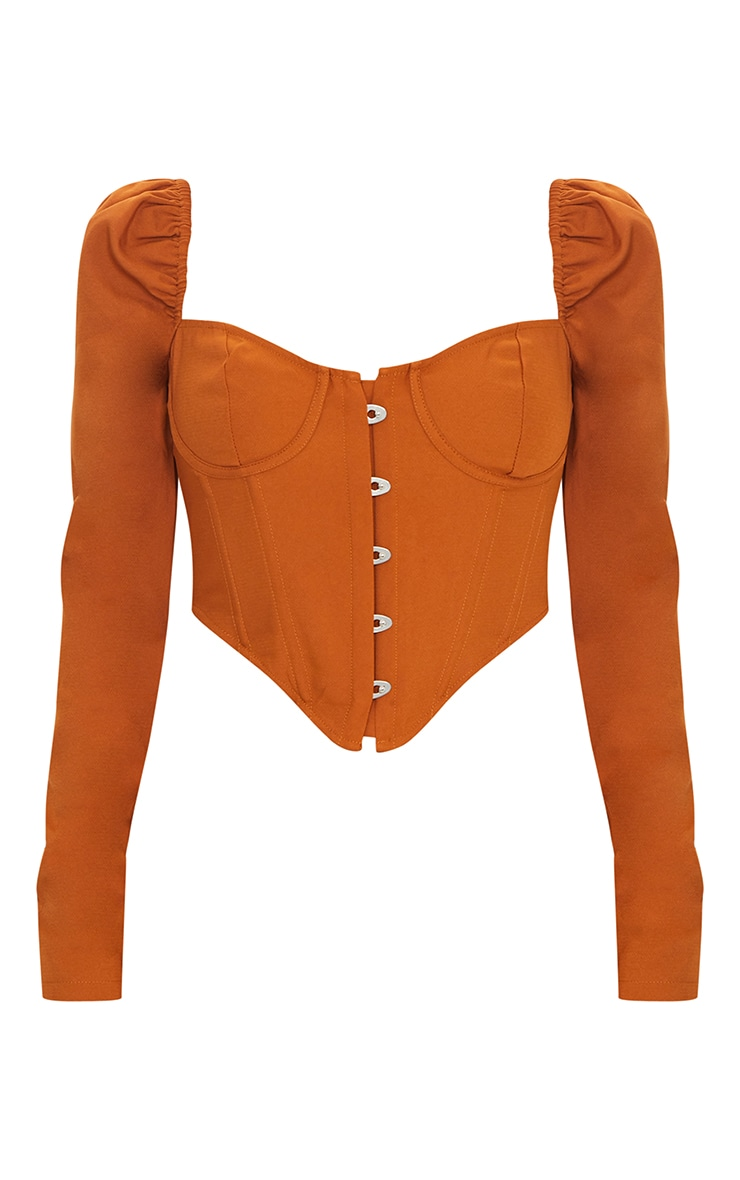 Camel Puff Long Sleeve Bust Cup Corset 5
