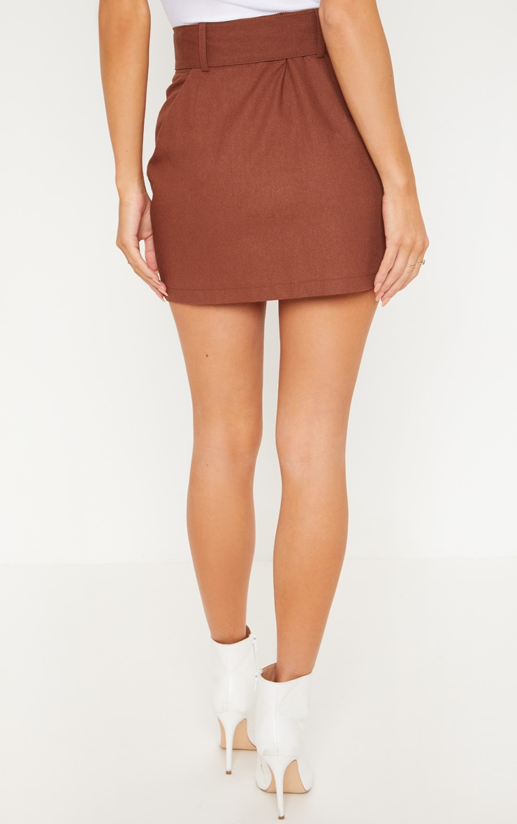 Chocolate Belted Cargo Mini Skirt 4