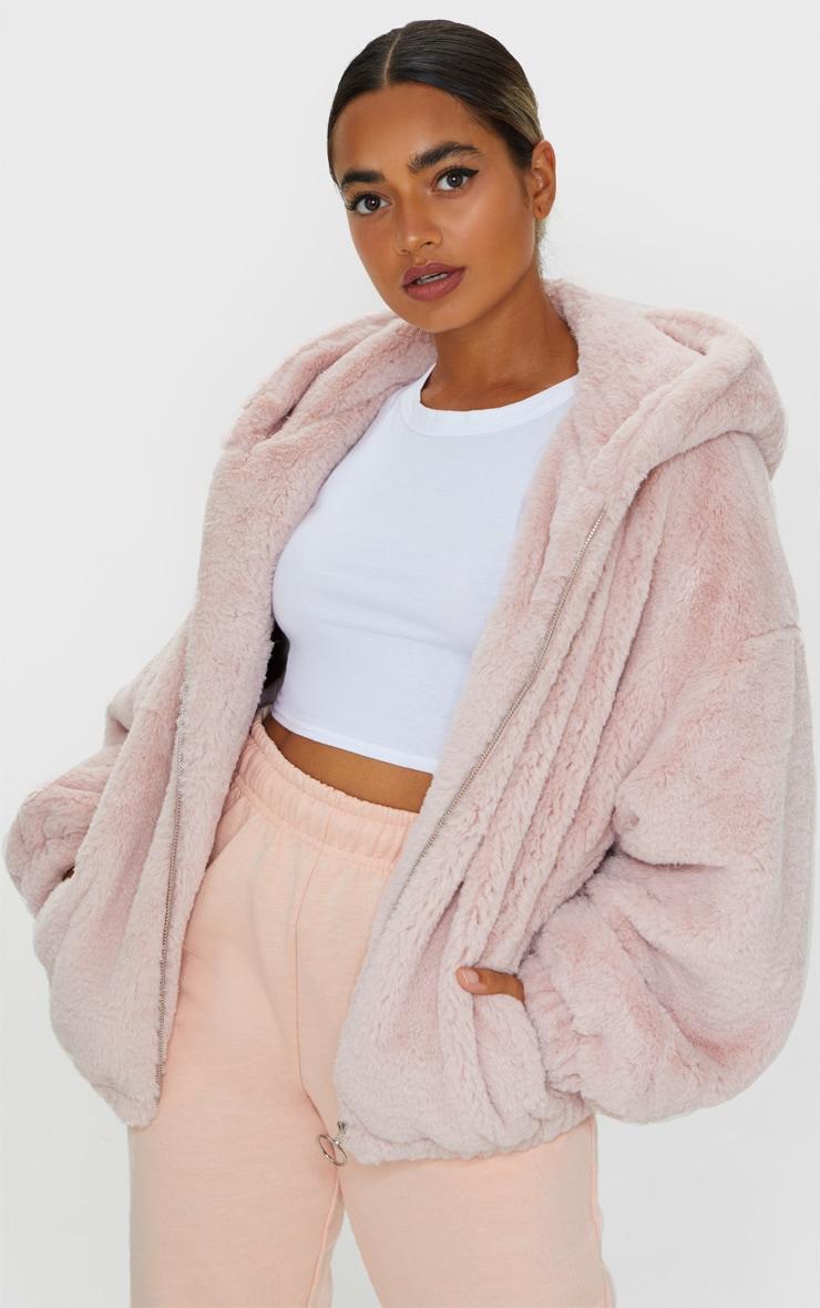 Petite Pink Faux Fur Balloon Sleeve Hooded Jacket 1