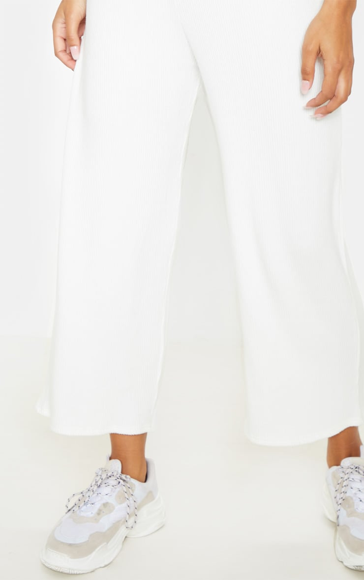 Cream Brushed Rib Wide Leg Culotte 5